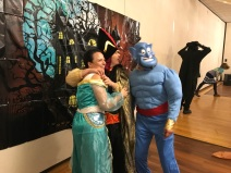 Yep, that's Mama dressed as an elderly Jasmine, Nicky as Jafar, and Papa as Genie during our local Autism Center's Halloween Bash. Nobody does Aladdin better than the Chans!
